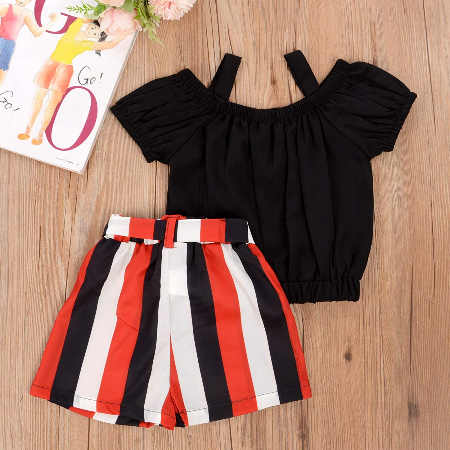 Toddler Baby Girls Clothes Ruffle Cami Tank Tops Blouse Striped Shorts Pants Summer Outfit Set
