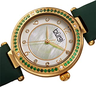 Burgi BUR251 Designer Women's Watch – Colored Crystal Dial, Satin Over Genuine Leather Strap, 8 Diamond Markers Surround The Bezel