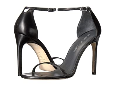 Stuart Weitzman Nudistsong Ankle Strap Sandal (Black Leather) Women