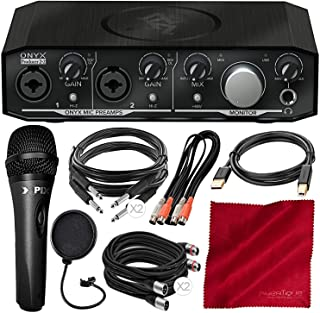 Mackie Onyx Series Producer 2-2 Audio Interface with MIDI and Microphone + Cables Deluxe Bundle