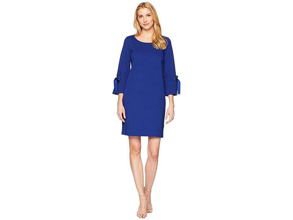 LAUREN Ralph Lauren Lace-Up Sleeve Cotton Dress (True Sapphire) Women