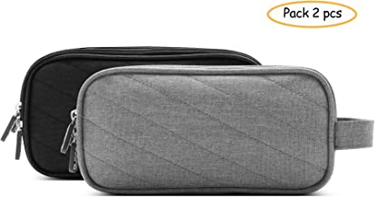 BOONA Adapter Cable Pouch Gadget Case with Double Layer Zipper Large Capacity Pocket Protection for Laptop Power Mouse Line, USB Data Cable, Computer Digital Accessories, Pack 2 Charger Storage Bag