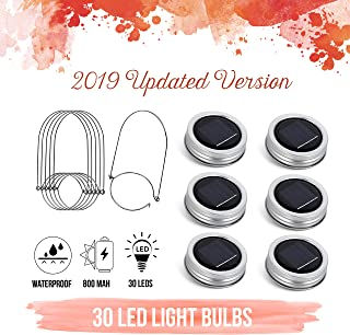 [Upgraded] Solar Mason Jar Lid Lights 30 LEDs - 800mAh Battery | Outdoor Decor, Patio Garden Decor, Solar Lantern Table Light | 6-Pack Hangers and Lids String Fairy Firefly Lights/No Jars