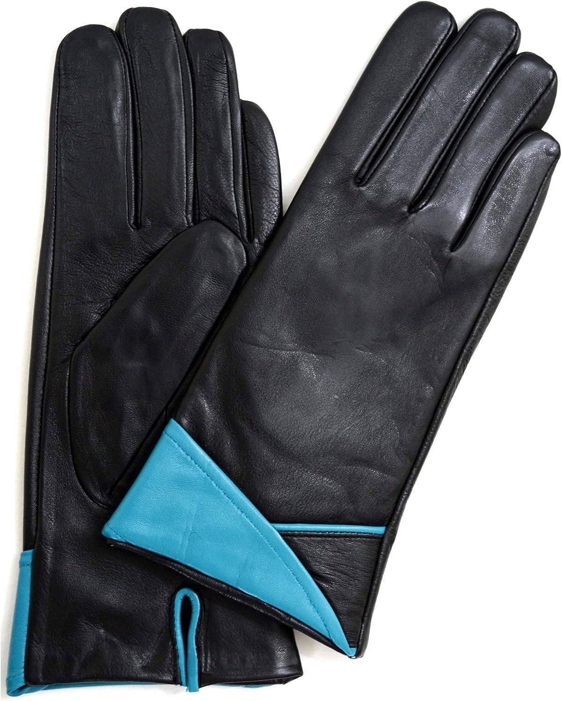 Ladies Butter Soft Black Leather Glove, V Fold Cuff Design & Warm Fleece Lining