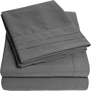 1500 Supreme Collection Extra Soft Split King Sheets Set, Gray - Luxury Bed Sheets Set with Deep Pocket Wrinkle Free Hypoallergenic Bedding, Over 40 Colors, Split King Size, Gray