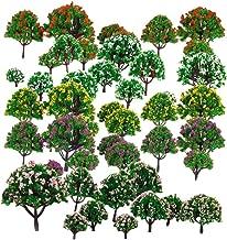 "HOSL 30 PCS Random Model Flower Trees1.5-6""(4-16cm) Ho Scale Blossom Diorama Bush Model Train Scenery Woodland Scenics Miniature Landscape Layout Scene Railway Woodland Spring Blooming Flowers"