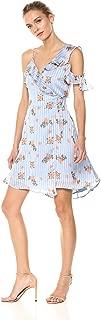 Women's Josie One Shoulder Ruffle Floral Satin Short Wrap Dress