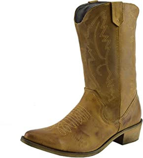 f553ed9e Women's Western Leather Cowboy Boots Pointed Toe Ladies Wide Calf Boots