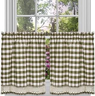 GoodGram Buffalo Check Plaid Gingham Custom Fit Farmhouse Café Styled Window Tier Curtain Treatments - Assorted Colors & Sizes (Sage Green, 24 in. Length)