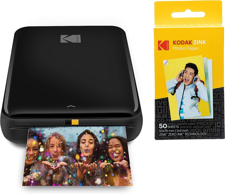 KODAK Step Impresora Móvil con tecnología Zink, Imprime Fotos Adhesivas de 2x3 Pulgadas Desde Cualquier Dispositivo con NFC, Bluetooth, Negro + Papel fotográfico Zink Premium de 2x3 pulgadas, 50 Hojas