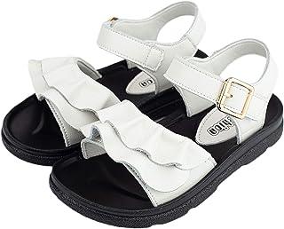 Folltoshe Girls Leather Flats Sandals Ankle Strap Ruffle Fashion Princess Sandals (Toddler/Little Girls)