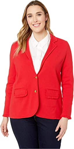 Plus Size Ruffle-Trim Cotton-Blend Blazer