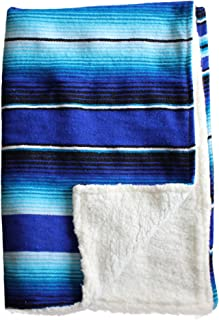 Del Mex Baja Baby Mexican Serape Baby Toddler Blanket paired with Soft Sherpa (Blue/Turquoise)