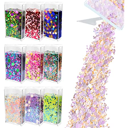 Glitter Wenida 9 Colors 105g Holographic Iridescent Multicolor Festival Sequins Craft Chunky Glitter for Arts Face Hair Body Nail