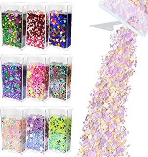 Glitter Wenida 9 Colors 105g Holographic Iridescent Multicolor Festival Sequins Craft Chunky Glitter for Arts Face Hair Bo...