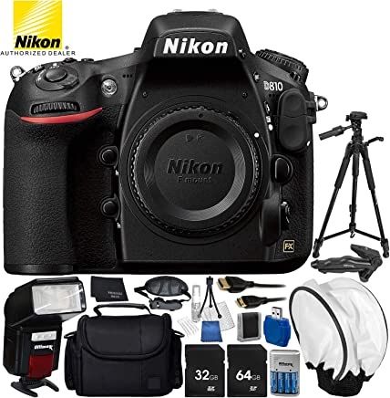 """Nikon D810 DSLR (Body Only) 14PC Accessory Bundle - Includes 64GB SD Memory Card + Automatic Flash with LED Light + 4 AA (3150mAh) NiMH Rechargeable Batteries + Soft Diffuser + 72"""" Tripod + MORE"""