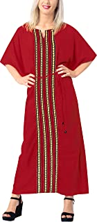 Women's Maxi Caftan Boho Dress Sleep Wear Swim Cover Ups Embroidery