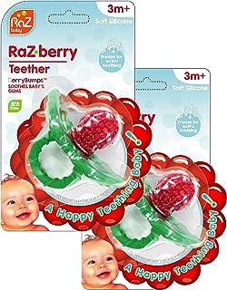 RaZbaby Raz-Berry Silicone Teether/Multi-Texture Design/Hands Free Design/ 2 Pack/Red
