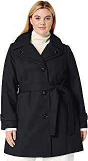 LONDON FOG Women's Double Lapel Thigh Length Button Front Wool Coat with Belt, Black, L
