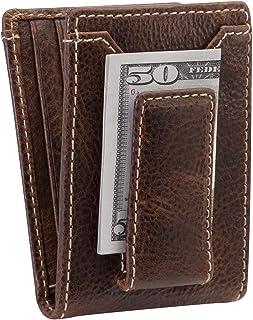 HOJ Co. IVAR ID BIFOLD Money Clip Wallet-Full Grain Leather-Magnetic Front Pocket Wallet