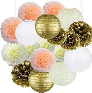 Cream Peach Gold White Tissue Paper Pom Poms Paper Flowers Paper Lanterns Tissue Paper Honeycomb Balls Birthday Party Decorations Bridal Shower Decorations Wedding Decorations Baby Shower Decorations