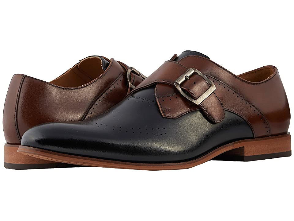 Stacy Adams Saxton Perfed Wingtip Monkstrap (Black/Cognac) Men
