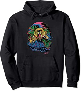 Psychedelic Neon Grizzly Bear Pullover Hoodie