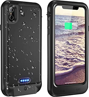 Vapesoon iPhone X/iPhone Xs Waterproof Battery Case Qi Wireless Charging Compatible 5.8-inch 3600mAh Slim Rechargeable Extended Protective Portable Charger Case for iPhone X/iPhone Xs - Black
