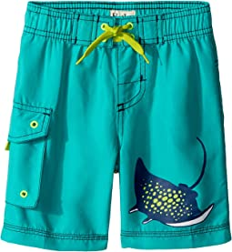Hatley Kids Friendly Manta Rays Boardshorts (Toddler/Little Kids/Big Kids)
