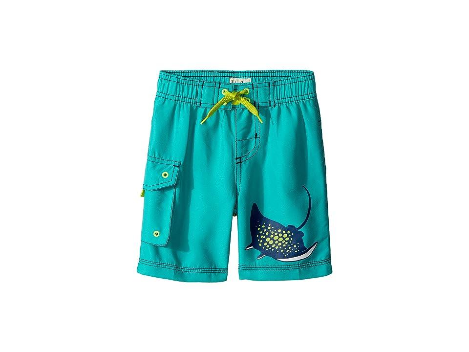 Hatley Kids Friendly Manta Rays Boardshorts (Toddler/Little Kids/Big Kids) (Green) Boy