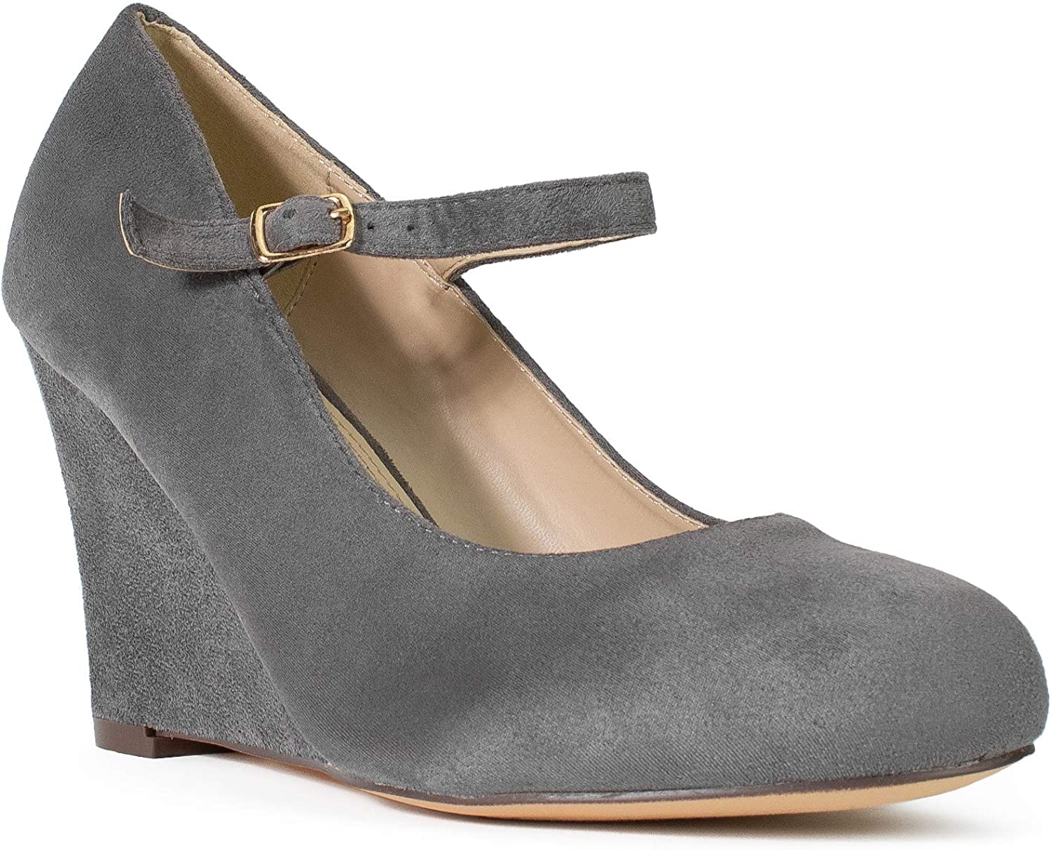RF ROOM OF FASHION Women's Wide Fit Mary Jane Extra Cushion Wedge Pumps (True Wide Width)