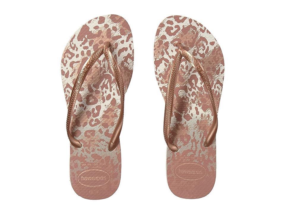 Havaianas Slim Animals Flip Flops (White/Golden Blush) Women