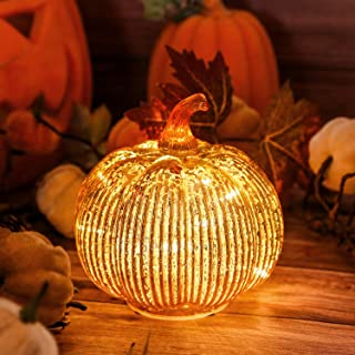 Hvfun Mercury Glass Light up Pumpkin with Timer- Fall Decoration for Home-Halloween Decorations (Gold)