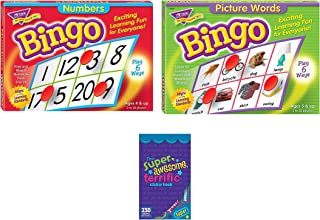 Trend Enterprises Picture Word Bingo Game for Kids and Numbers Bingo Set (Set of 2 Games)
