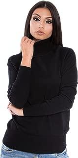 Women Italian Merino Wool Turtleneck Sweater Long Sleeve Pullover
