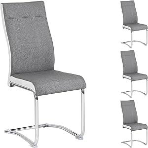 IDIMEX Lot de 4 chaises de Salle à Manger ou Cuisine Alba avec Assise rembourrée et piètement chromé, revêtement en Tissu Gris et Blanc