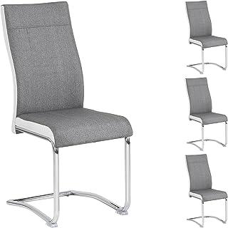 IDIMEX Lot de 4 chaises de Salle à Manger ou Cuisine Alba avec Assise rembourrée et piètement chromé, revêtement en Tissu ...