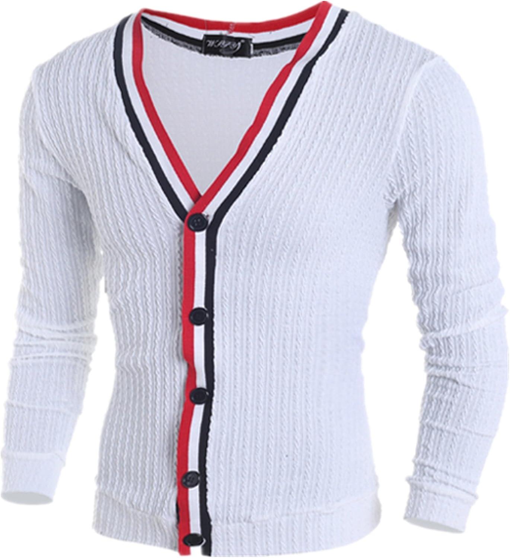 Allonly Men's Fashion Color Block Cardigan Slim Fit Button Closure V-Neck Sweater