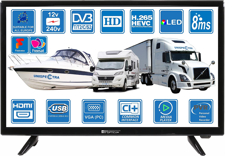 Autocaravanas Caravana Camper Barco 12v 24 Pulgadas 61cm LED Full HD Digital TV DVB-T2/C/S2 TDT, Cable, Satélite TV. 12V 220V USB PVR & Reproductor Multimedia, VGA & HDMI Monitor de PC