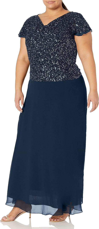 J Kara Women's Size Flutter Sleeve Long Dress Plus