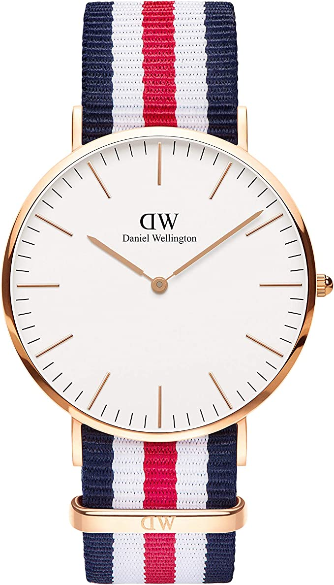 Daniel Wellington Classic Canterbury, Reloj Azul-Blanco-Rojo/Oro Rosado, 36mm, NATO, para Mujer y Hombre