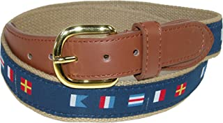 CTM Men's Woven Fabric Belt with Nautical Signal Flags Ribbon Overlay