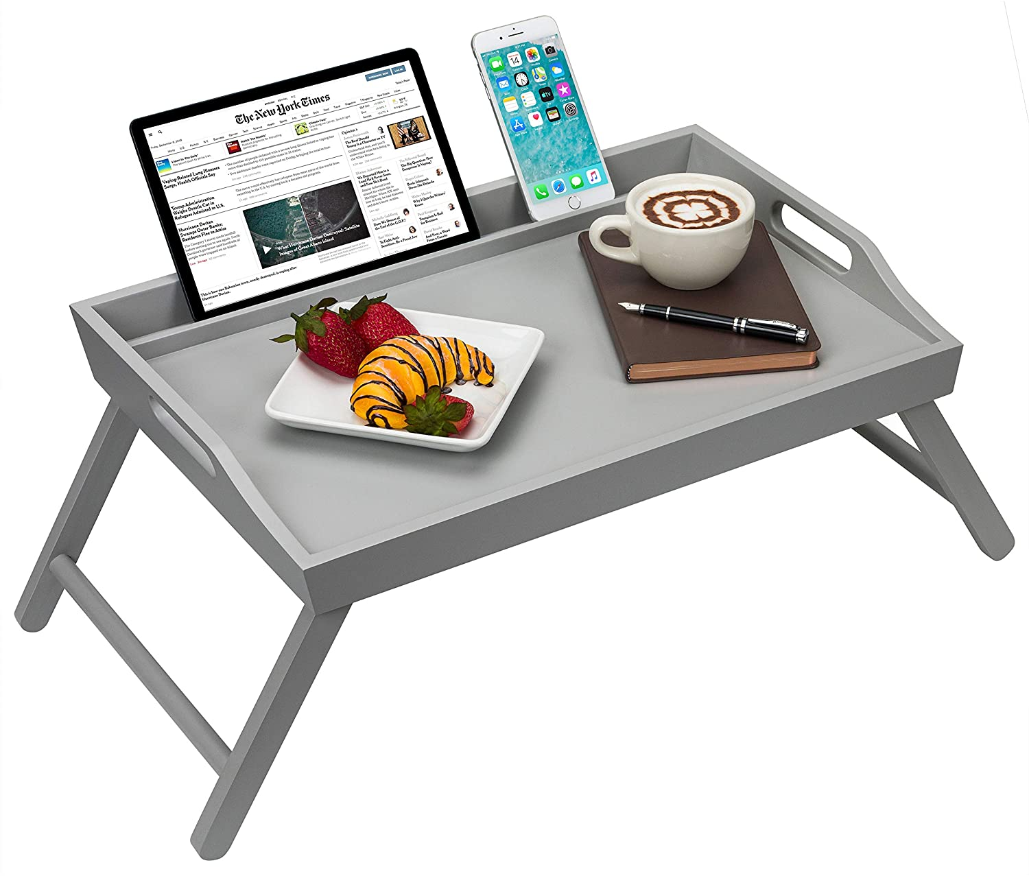 Rossie Home Media Bed Tray with Phone Holder - Fits up to 17.3 Inch Laptops and Most Tablets - Calming Gray - Style No. 78105