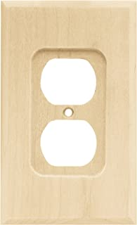 Brainerd 64666 Wood Square Single Duplex Outlet Wall Plate / Switch Plate / Cover, Unfinished