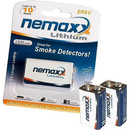 2x Nemaxx Lithium 9v Block Batterie Set Für Rauchmelder Elektronik