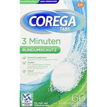 Corega Reinigungs-TABS 3 Minuten für herausnehmbaren Zahnersatz/dritte Zähne, Gebissreinigungstabletten, 1x66