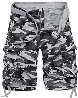 Mens Camo Cargo Shorts Camouflage Relaxed Fit Short