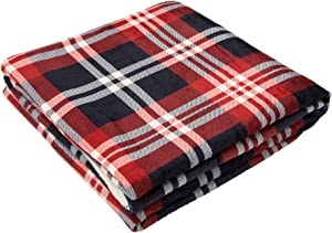 "Glitzhome Plaid Flannel Duvet Cover with Zipper 72"" L x 48"" W Reversible Comforter Red/Blue/White Cover, Twin"