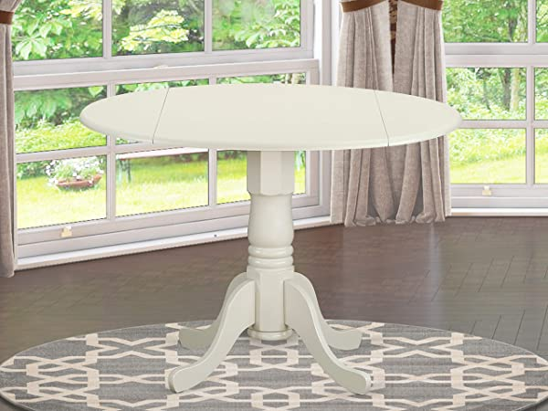 East West Furniture DLT WHI TP Round Table With Two 9 Inch Drop Leaves