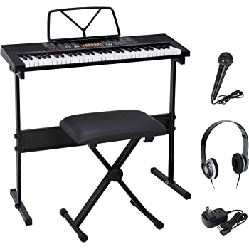 Smartxchoices 61-Key Portable Electronic Keyboard Piano LCD Display Keyboard Kit with Adjustable Stand, Stool, Headphones, Microphone & Music Stand